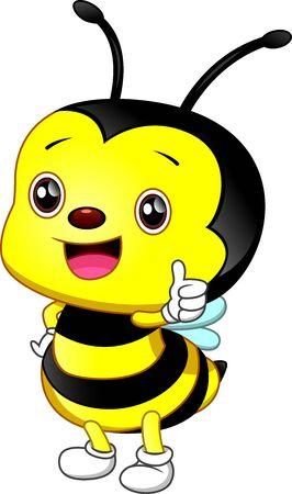 cute bee cartoon thumb up
