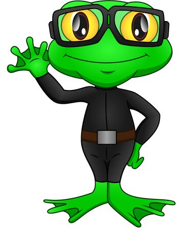 frog wearing a diving suit and waving