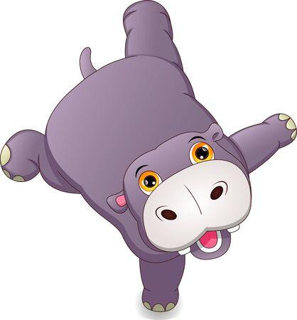 cute hippo cartoon 向量圖像