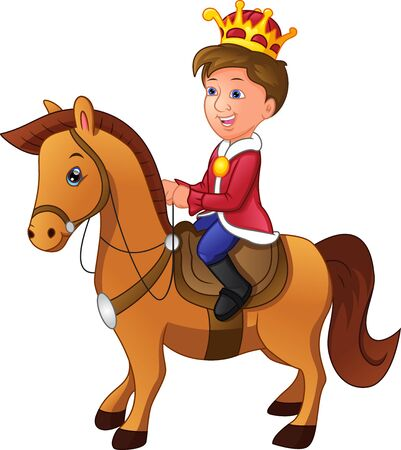 charming cartoon prince riding a horse