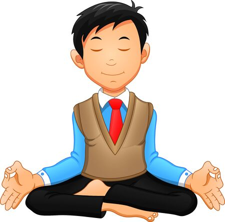 Businessman meditating in a yoga posture, he is relaxed. Çizim