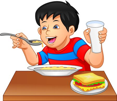 little boy eating on a white background