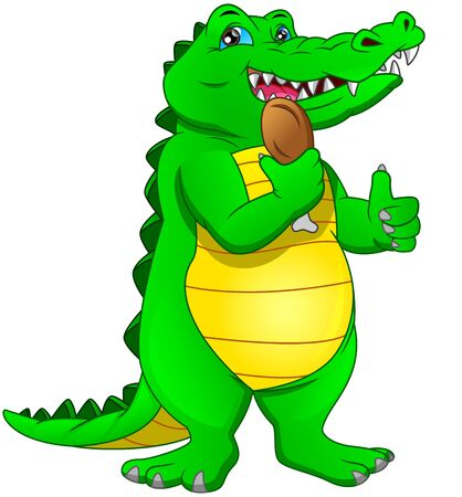 cute baby crocodile thumb up and holding chicken thighs