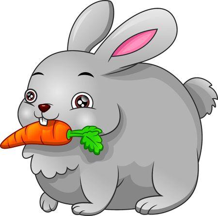 Cartoon cute rabbit biting a carrot Vektorové ilustrace
