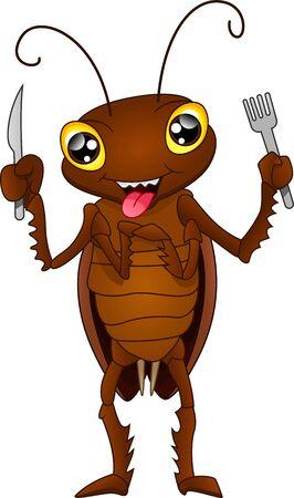 cartoon cockroach ready to eat Vector Illustration