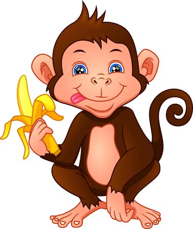 cute monkey cartoon holding a banana