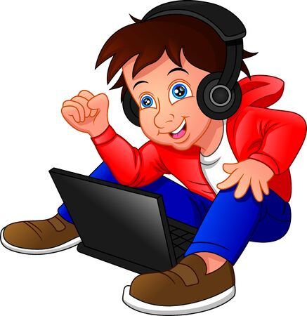 little boy sitting on the floor using a laptop and listened to music