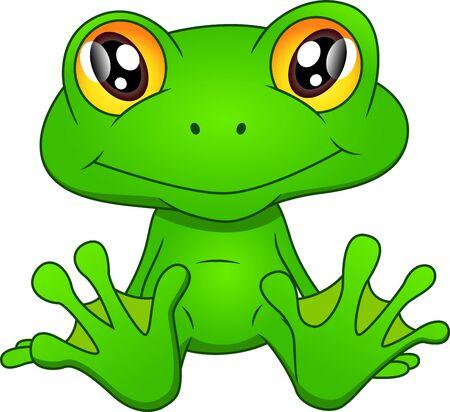 Green frog cartoon on white background Illustration