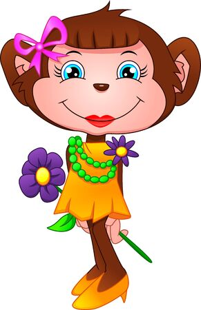 cute monkey cartoon holding flower on a white background