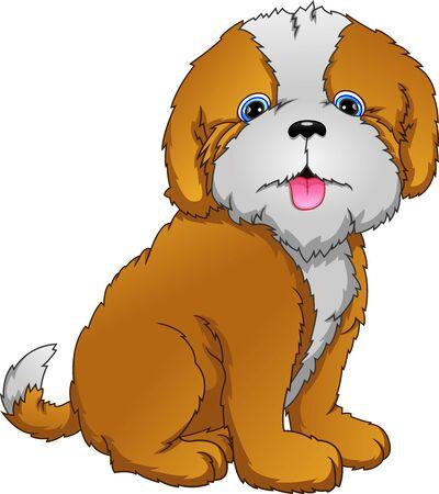 Cartoon cute dog on white background Illustration