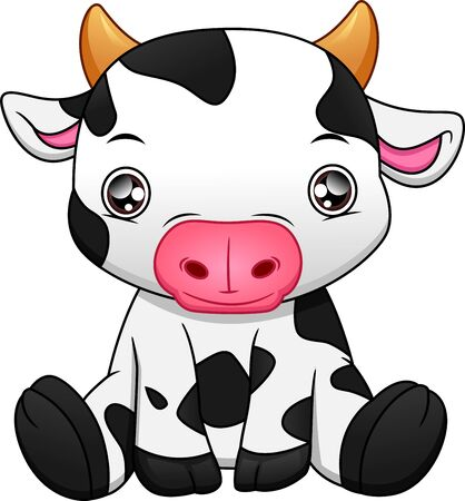 cute baby cow cartoon on white background