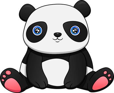 Cute baby panda on a white background Ilustración de vector