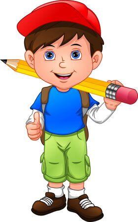 cartoon boy with big pencil