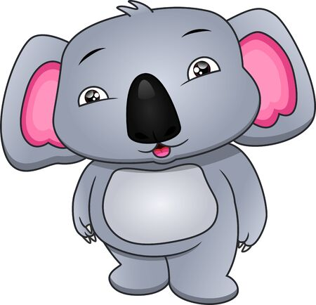 cute koala cartoon on a white background Illustration