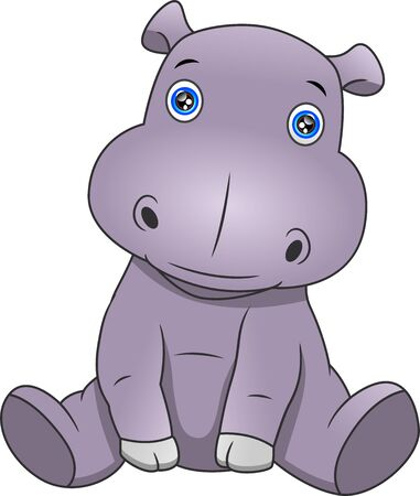 cute hippo cartoon on a white background