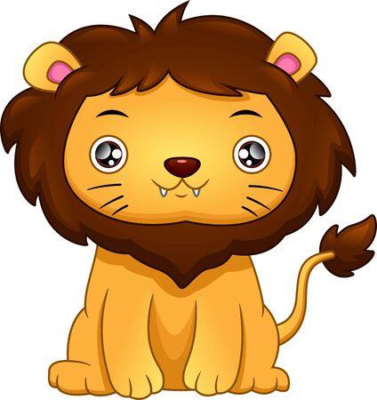 cute baby lion cartoon Illustration