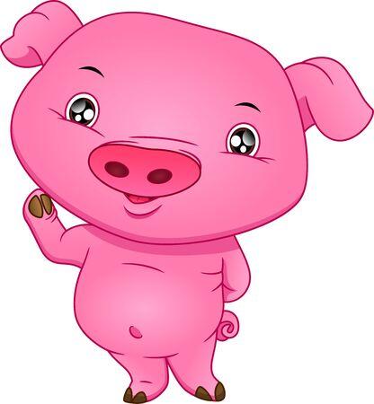 cute baby pig cartoon waving