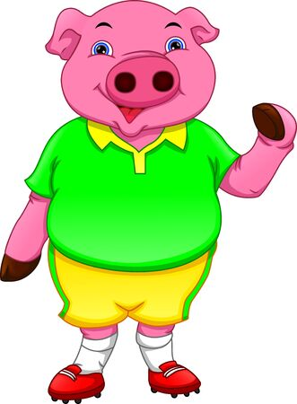 funny pig cartoon wearing sport clothes