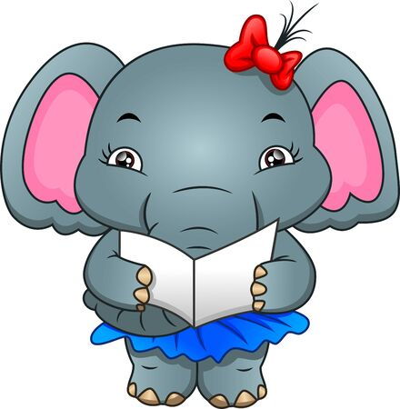 cute elephant reading a letter