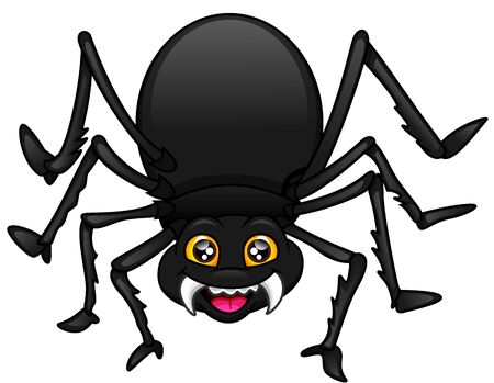 cute spider cartoon on a white background Illustration