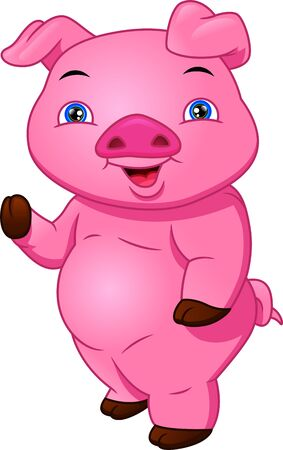 cute pig cartoon waving