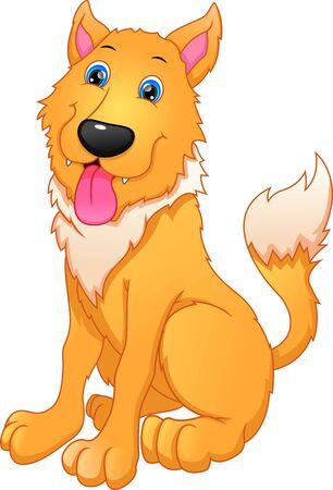 Cartoon funny dog on white background