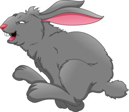 Cartoon cute rabbit jumping Illustration