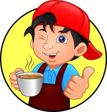 cute boy with hot coffee