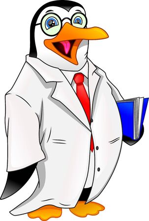 Cute penguin wear laboratory clothes and holding book