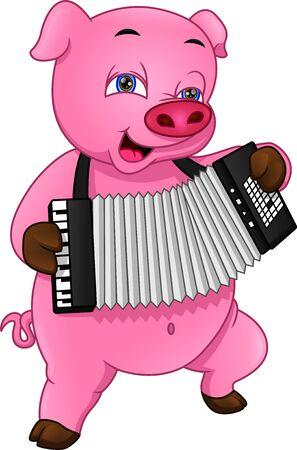 cute pig playing an accordion
