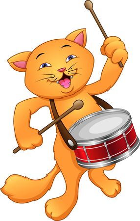 Funny cat playing snare drum Illustration