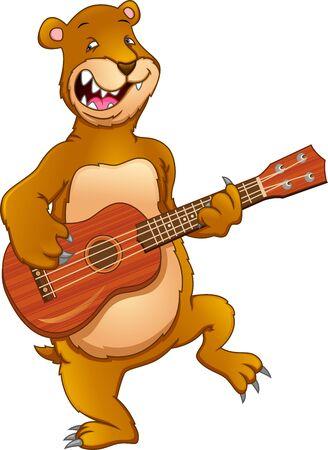 cute bear playing guitar