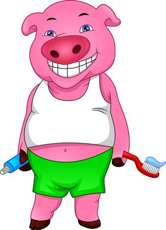 cute pig holding a toothpaste and a toothbrush Illustration