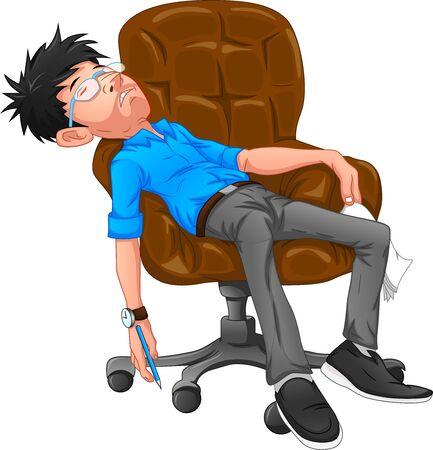 Tired businessman at office Illustration