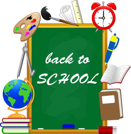Welcome back to school text drawing by colorful chalk in blackboard with school items and elements