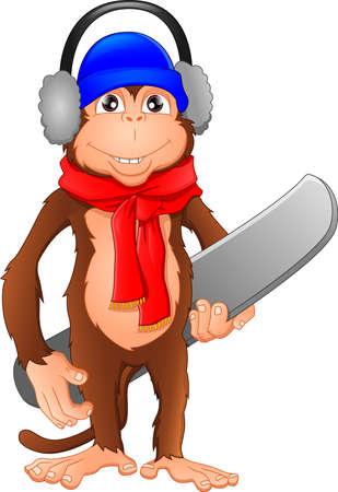 monkey playing skiing Illustration