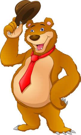 cute bear wearing tie and holding hat Ilustração
