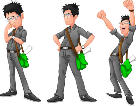 Businessman in different emotions and expressions
