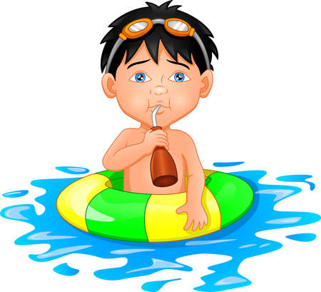 Boy with inflatable circle