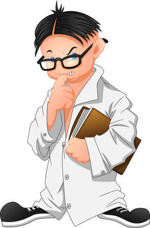 little boy cartoon wearing laboratory clothes