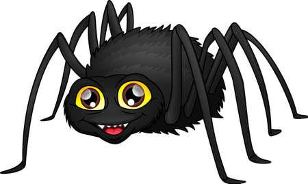 cute spider cartoon on a white background Ilustração