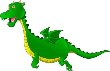 cute dragon cartoon on a white background Ilustracja
