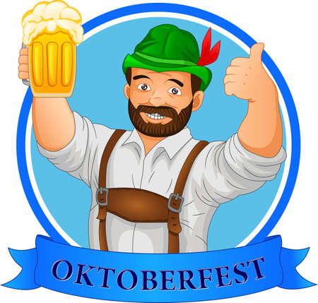 oktoberfest concept. man holding beer and thumb up