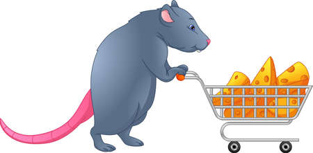 cute mouse carrying cheese with a trolley