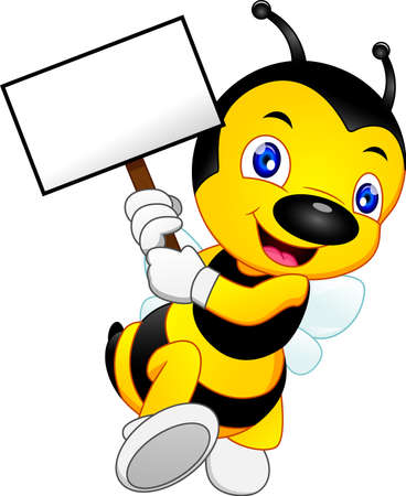cute bee cartoon with blank sign