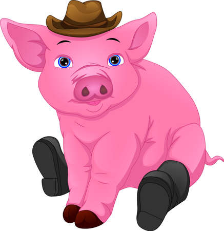 cute pig wearing hat and boots