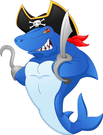 Cute shark pirate cartoon Vettoriali