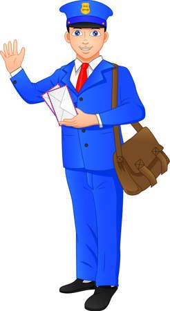 post officer cartoon waving