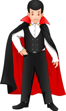 cute boy wearing dracula costume