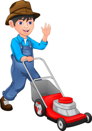 happy boy is mowing the lawn with the lawn mower Vektorové ilustrace
